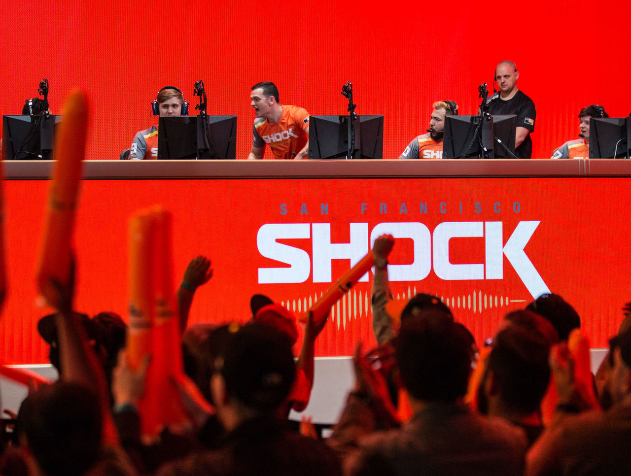 Cropped the san francisco shock celebrate on stage   dec. 6 2017